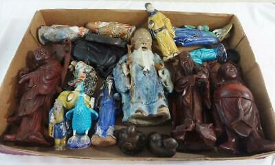 Lot of (16) Chinese Oriental Figures Pottery, Mud Men, Carved Wood, & Metal