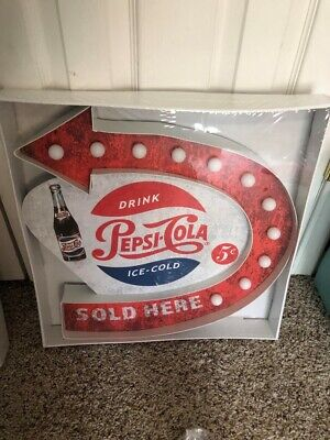 "18"" Lighted All Metal Pepsi Sign - New"