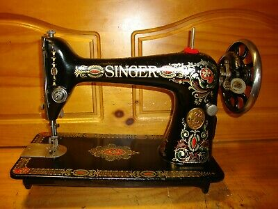 "Antique Singer Sewing Machine Head Model 66 ""Red Eye"", Serviced Aa060656"