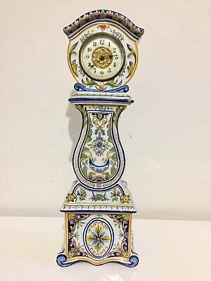 Antique French Porcelain Cased Miniature Grandfather Clock C1900