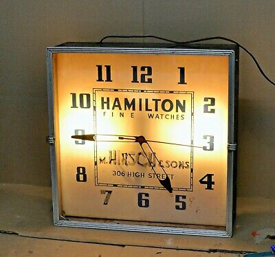 """Vintage Electric Hamilton Fine Watches Jewelers Wall Advertising Clock 15 1/4"""""""
