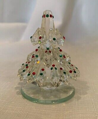 Vintage Clear Crystal Christmas Tree With Red/Green Crystals