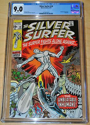Silver Surfer #18 CGC 9.0 (WHITE PAGES) Inhumans App. & Last Issue of 1st Series