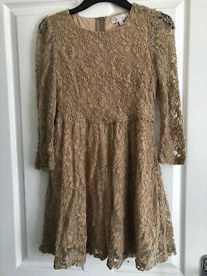 Beautiful Women's Dress, Skater Style, Flower Lace, Nude, Size L, Cameo Rose