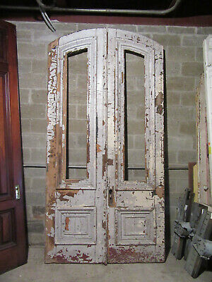 ~ HUGE ANTIQUE DOUBLE ENTRANCE FRENCH DOORS ~ 60 x 119 ~ ARCHITECTURAL SALVAGE