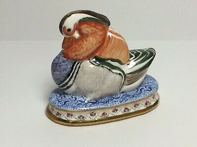 Small Antique/vintage Porcelain Chinese Mandarin Duck Hand Painted SEE PICS VG+