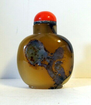 Antique shadow agate snuff bottle Qing Dynasty with carving of bird on tree