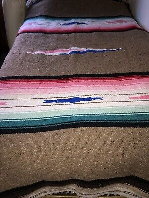 Vintage Authentic Artesanias Mexican Throw Blanket Rug Textile 82x 55 In