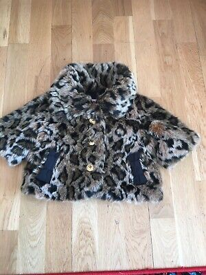 Juicy Couture Coat Jacket Age 2 Years Faux Fur Leopard Animal Print Designer