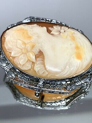 Antique Hand Carved Shell Cameo Pendant Pin in Sterling Silver Large 13.1 Grams