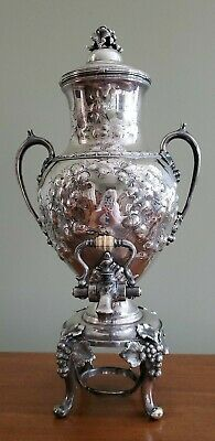 Antique Reed & Barton Repouse Silverplate Samovar Coffee Urn Grapes Oak Leaves