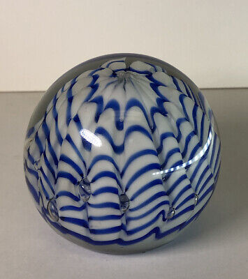 Blue & White Glass Paperweight Paper Weight Stripe Ruffle Design