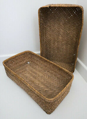 Beautiful Pair Of Swedish Antique Weave Baskets ❤️ Collectible Vintage Display