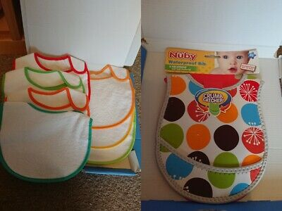 Bundle of childrens new bibs, crumb catcher, waterproof