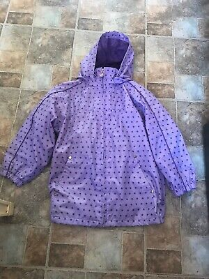 Girl's Purple Spotted Pumpkin Patch Waterproft Coat Size 6 Years