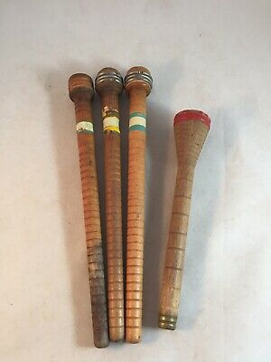 4 Vintage Antique Wood Textile Mill Industrial Yarn Spools Bobbins Spindles 10""