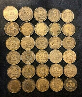 Old France Coin Lot - 50 CENTIMES - 1922-1941 - 30 Coins - Lot #M29