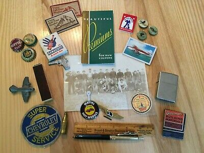 Vintage Junk Drawer Beer Caps Football Photo Matches Victor Needles Pen Ruler+