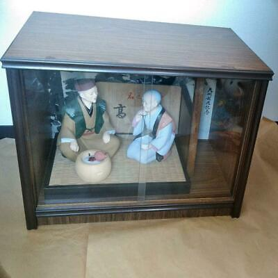 Japanese Hakata Pottery doll in Glass Case Figure Antique Signed