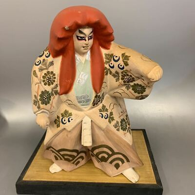 "Japanese 10"" Hakata Pottery doll Kabuki on wooden base Figure Antique Signed"