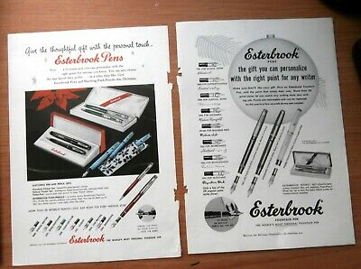 Lot of 2 Vintage 1955 Esterbrook Fountain and Other Pen Advertisements Ad