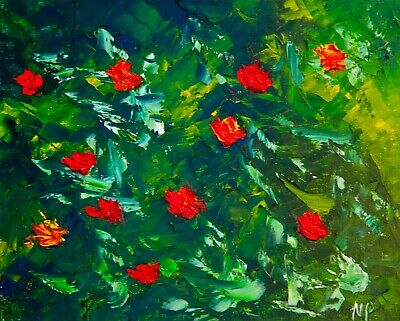 Red Flowers Natasha Petrosova original oil painting Home Deco Impressionism