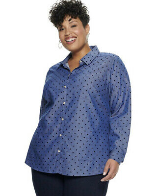 Croft & Barrow Womens Plus Size 3X Twill Button Down Shirt Top Core Flannel NWT
