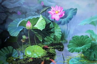 Large Wall Art ABSTRACT Lotus Feng Shui Koi Fish OIL PAINTING MODERN HandPainted