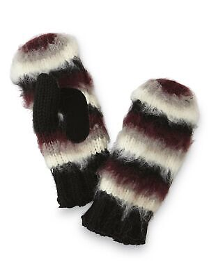Isotoner Knit Mittens for Womens Lined Warm Winter Knitted Black Stripe One Size
