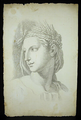 Portrait Of Young Roman Roman Or Greek Greek Androgynous Engraving 18th 46 CM