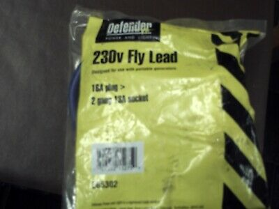A DEFENDER 230v FLY LEAD 16a 2 GANG 13a SOCKET   NEW IN BAG FREE   P/P