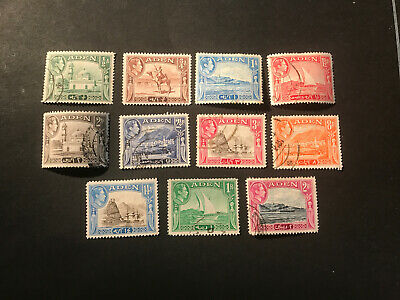 Stamps - Bc Kg6 Aden Used (11) Mix Cond & Vals All Show
