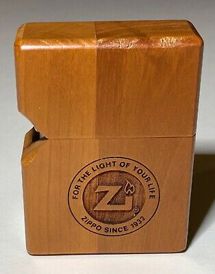 Unusual Two-Tone Wooden Zippo Table Lighter