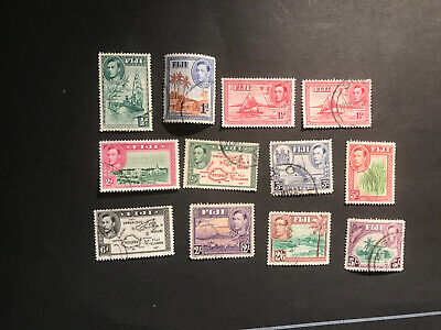 Stamps - Bc Kg6 Fiji Used (12) Mix Cond & Vals All Show