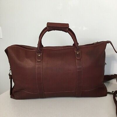 "Canyon Outback Little River Leather 24"" Carry On Duffel Bag Distressed  Burgundy"