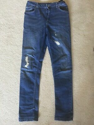 River Island boys blue jeans Age 12 with adjustable waistband with fake cuts