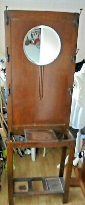 Antique Victorian oak Hall Coat Stand With Beveled Mirror And Key Box Drip Trays