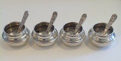Antique Vintage Silver Salts and Spoons x 4, Egyptian,