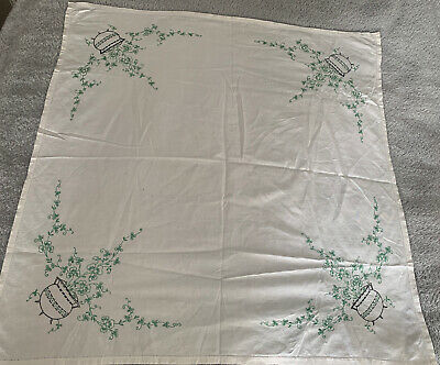 Vintage Irish Linen Tablecloth / Square Shamrock  With Cauldron 32/32
