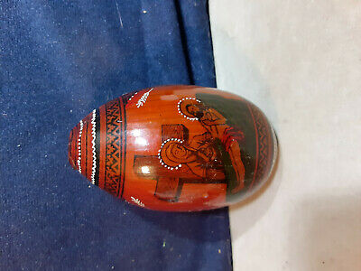 Beautiful Hand Painted Wooden Religious Egg Very Detailed Mother Mary and Jesus