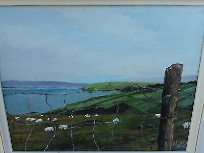 Landscape Painting At Antrim Coast Aerial Perspective Oil Painting Of Sheep