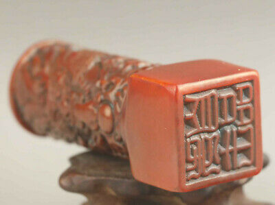 Chinese old natural jade hand-carved statue jade dragon seal 3.2 inch