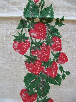 Vintage Tea Dish Towel Towel Strawberry Crocheted Edge