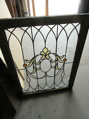 ~ ANTIQUE STAINED GLASS WINDOW ~ 28.5 x 36.25 ~ ARCHITECTURAL SALVAGE ~