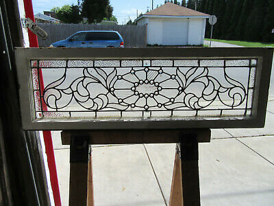 ~ Antique Stained Glass Transom Window 24 Jewels ~ 48 X 16 ~ Salvage ~