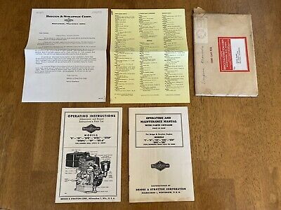 Vintage Briggs & Stratton Model 8 ... Operating Instructions Maintenance Manual