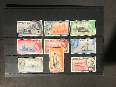 Stamps - Bc Qeii Barbados (9) Mint Mixed Vals