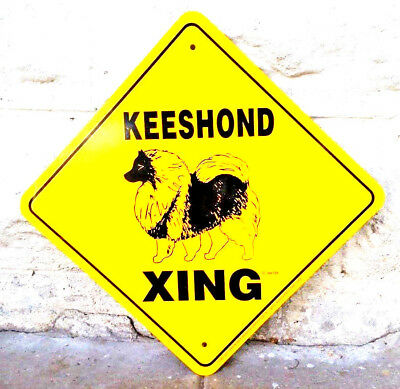 1989 Noble Beasts Graphics Keeshond Xing Metal Sign Yellow Black Man Cave