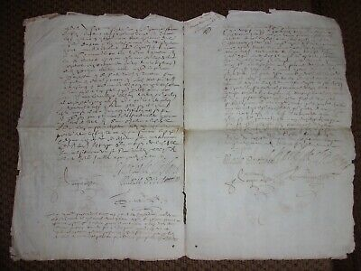 Lot of (7) Unidentified/Partially Identified 1600s AUTOGRAPHED FRENCH DOCUMENTS!