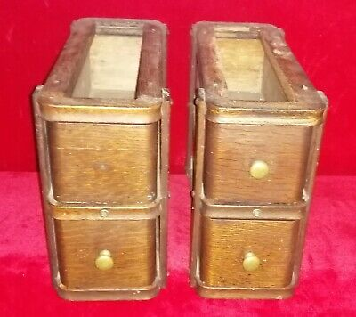 Vintage Singer Sewing Machine Table / Stand Drawers 2 X Double Drawers With Key